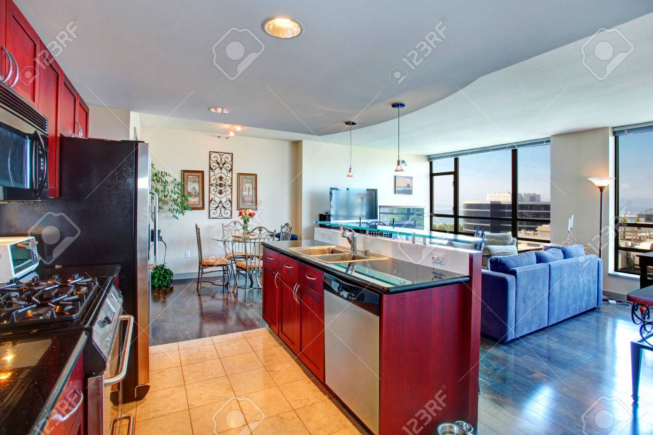 Black And Burgundy Kitchen, Bright Living Room With Glass Wall And