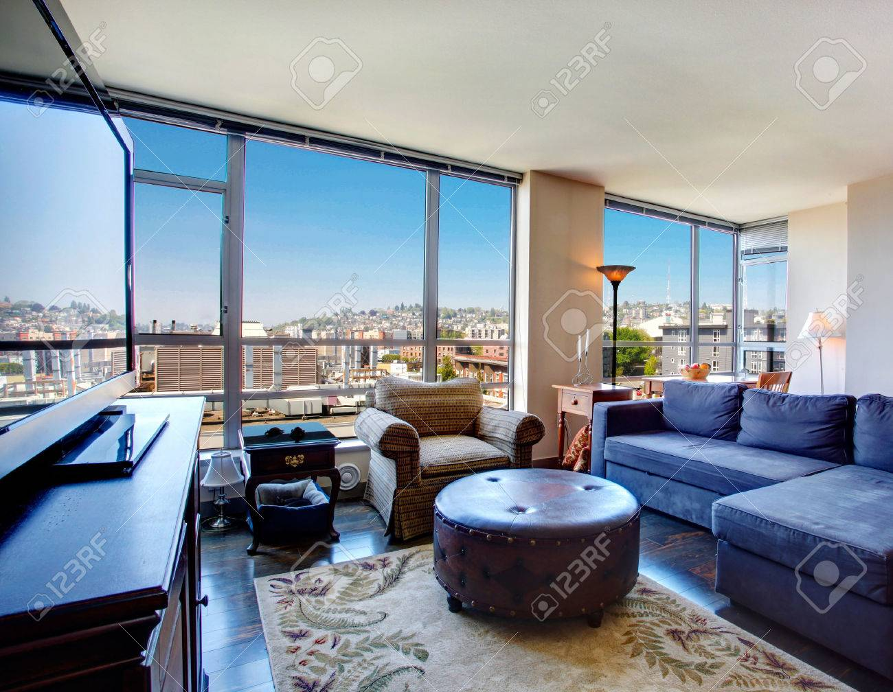 Modern Apartment With Amazing City View Through The Glass Wall Stock Photo Picture And Royalty Free Image Image 27143921