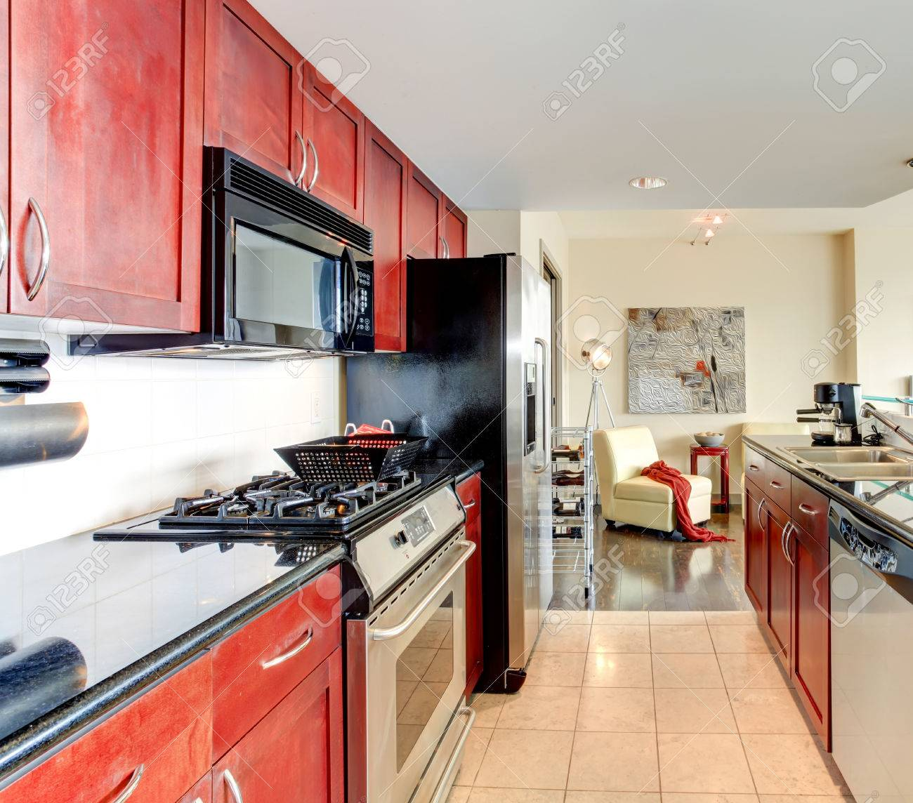 Modern Apartment Interior Black And Burgundy Kitchen Bright