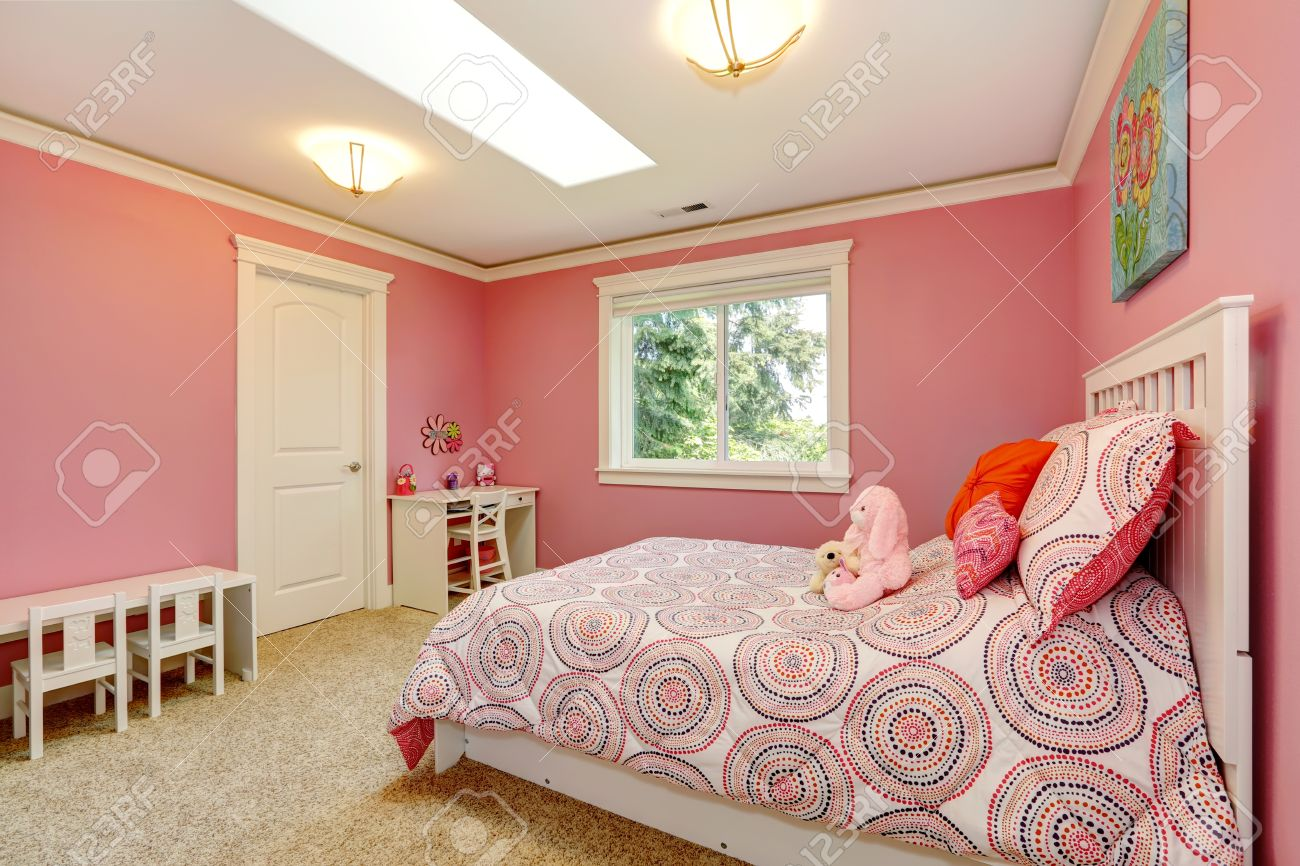 Cozy And Gentle Colors Bedroom For Girls. Pink Walls Blend With ...