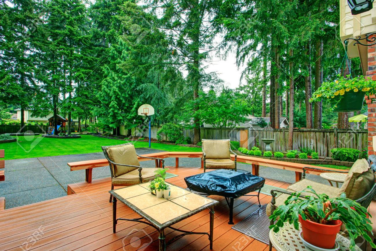 backyard patio area with antique table set and fire pit view