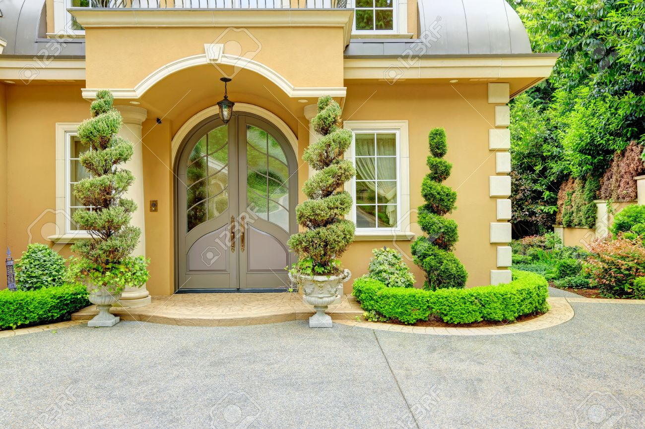 Beautiful House beautiful house entrance. column porch with glass door. porch