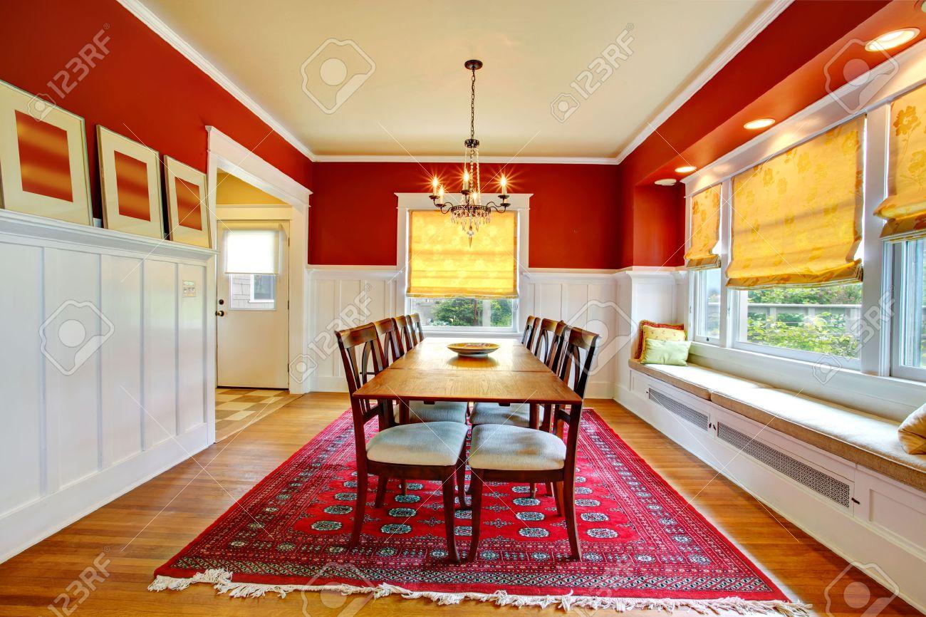 rouge et blanc salle manger avec plancher de bois franc vue de - Salon Blanc Ivoire
