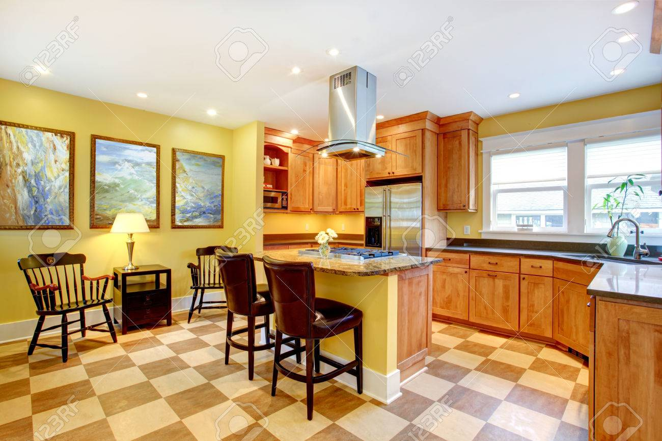 Yellow And Brown Kitchen Bright Kitchen Interior With Island Brown Cabinets Blend With