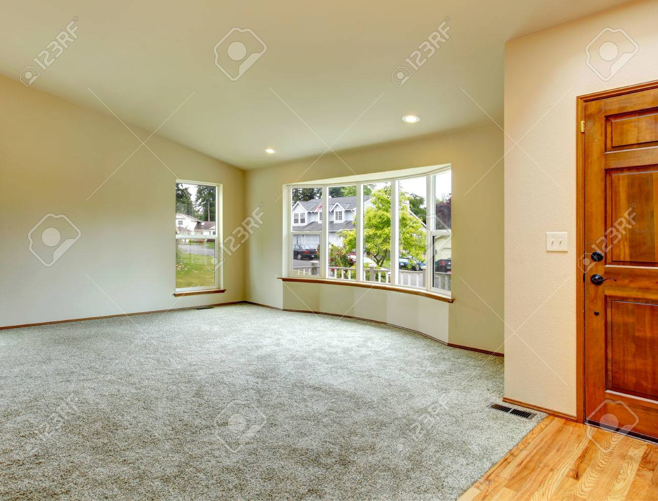 Spacious Empty Living Room With Windows High Vaulted Ceiling