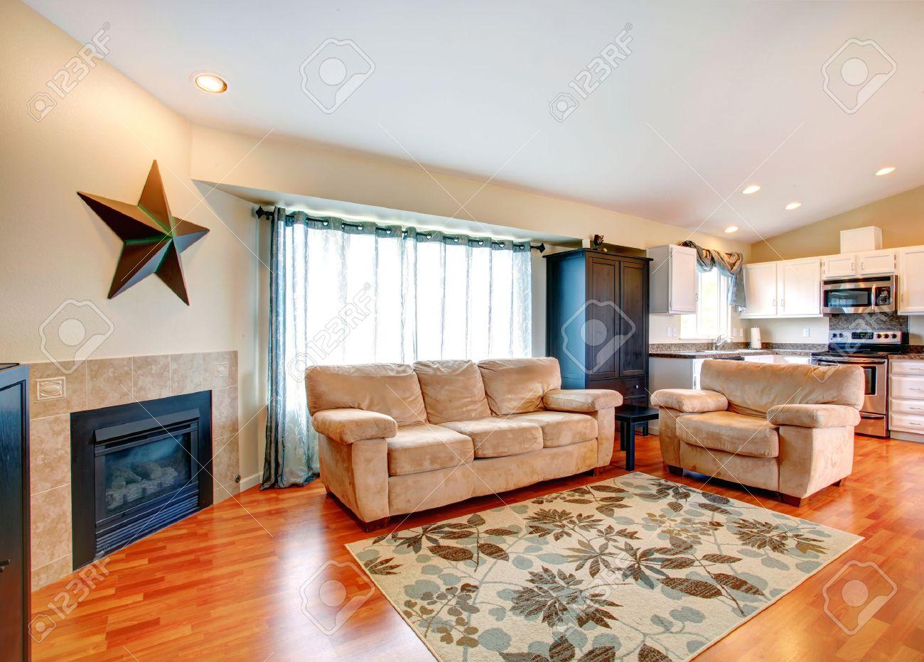 arredato soggiorno con camino, pavimento in legno e tappeto ... - Soggiorno Cucina Con Camino
