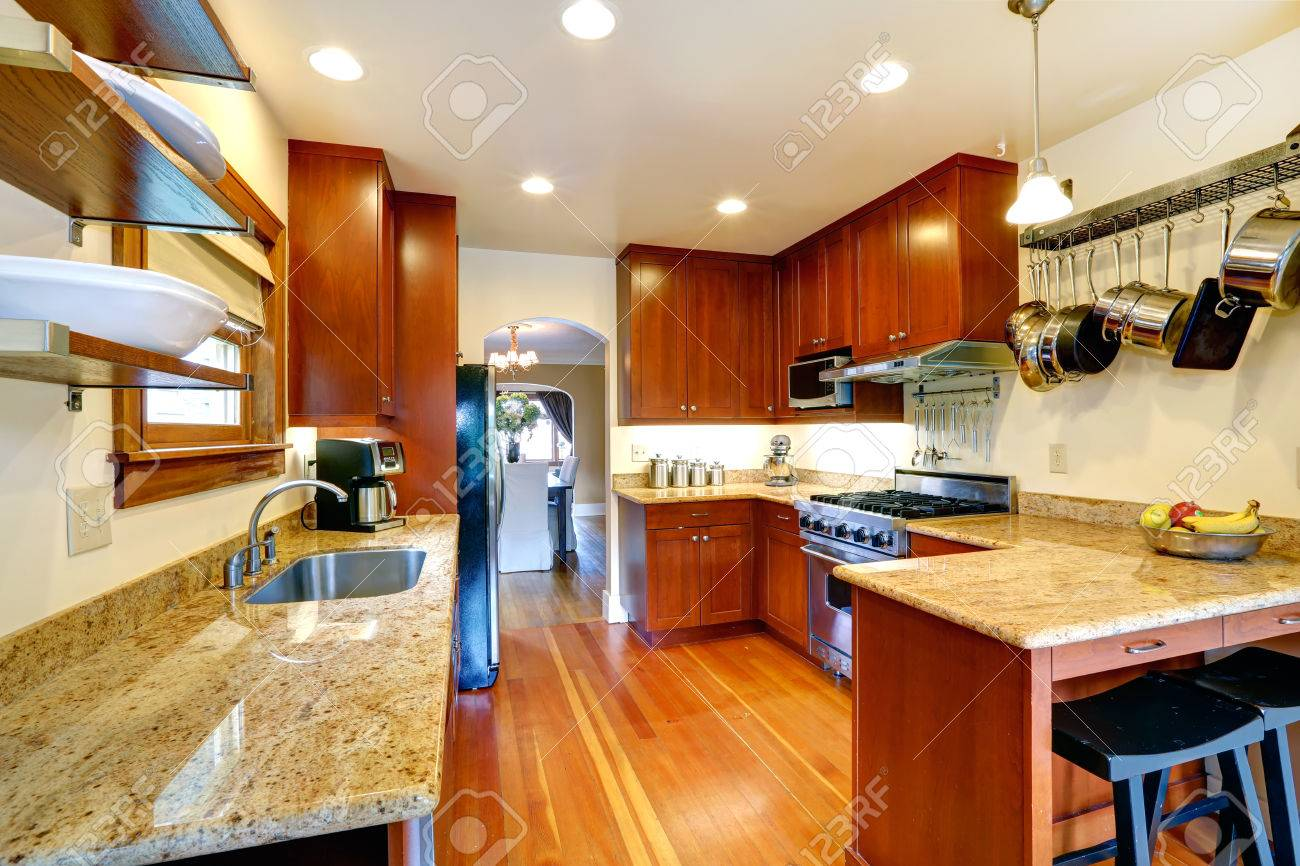 Picture of: Practical Kitchen Room Interior Cabinets Steel Appliances Stock Photo Picture And Royalty Free Image Image 27688240