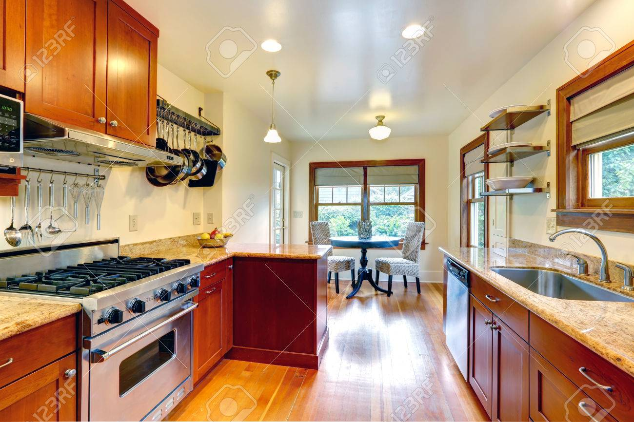 Practical Kitchen Room Interior View Of Cabinets Steel Appliances Stock Photo Picture And Royalty Free Image Image 27688252