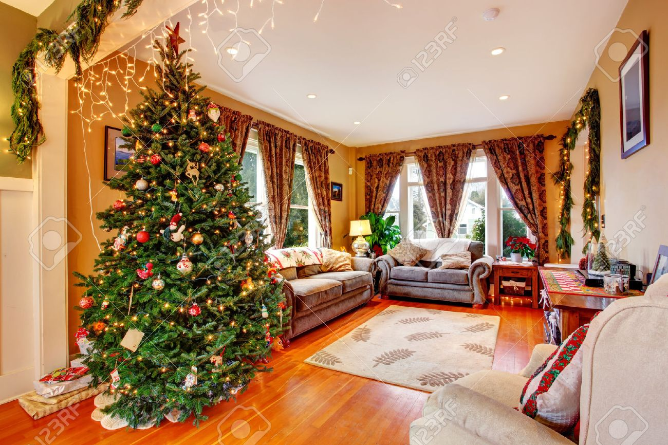 Christmas Tree Living Room cozy house interior on christmas eve view of living room with