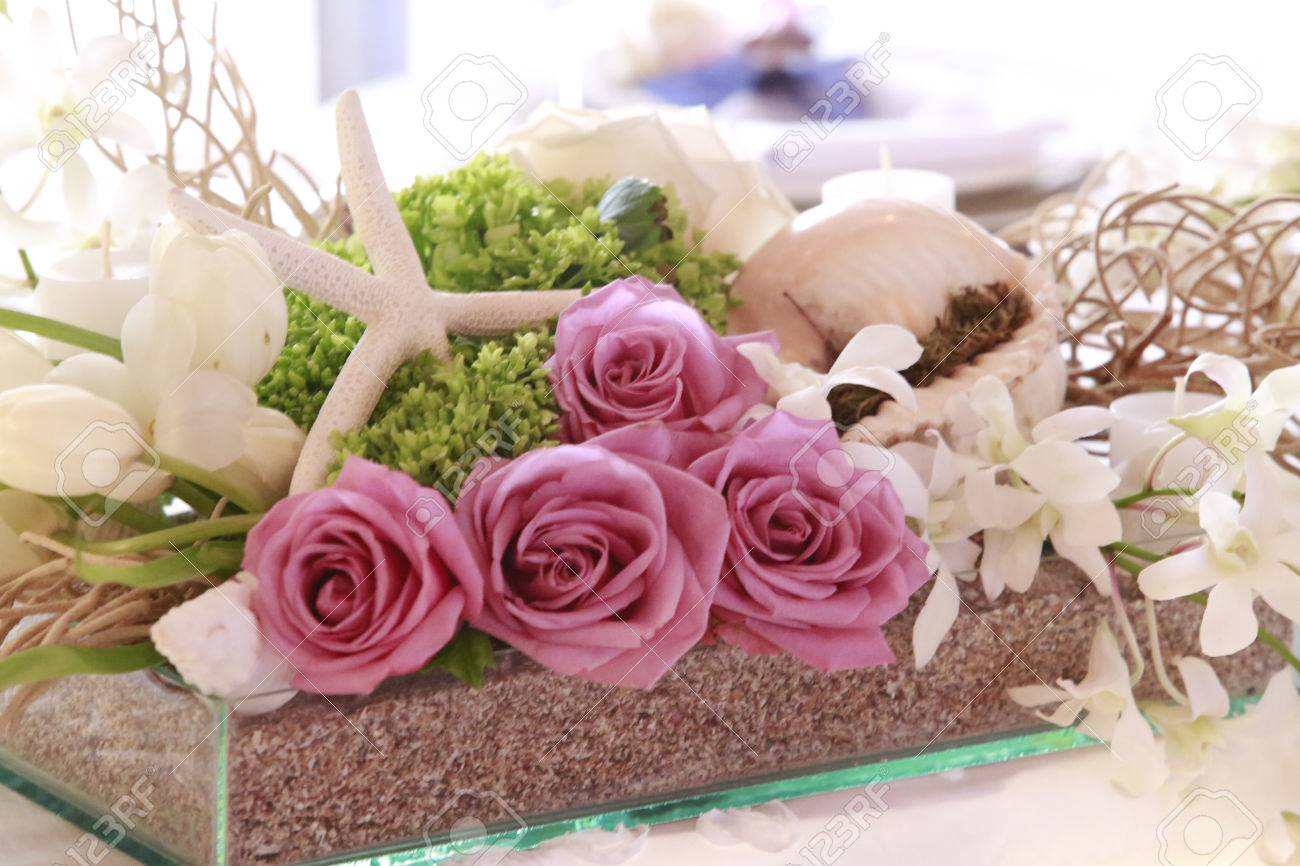 Beautiful Wedding Decoration Made Of Pink Roses Blended With Stock