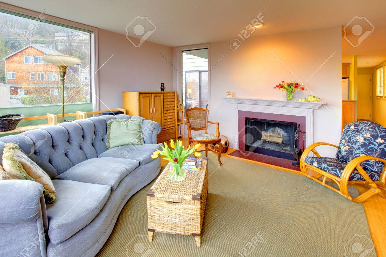 Living Room With Fireplace And Light Blue Sofa Stock Photo Picture And Royalty Free Image Image 28592239