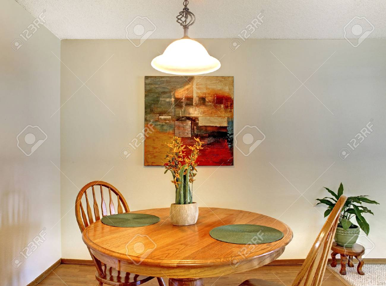 Dining Area With Rustic Dining Table Set Decorated With Flowers Stock Photo Picture And Royalty Free Image Image 28613214