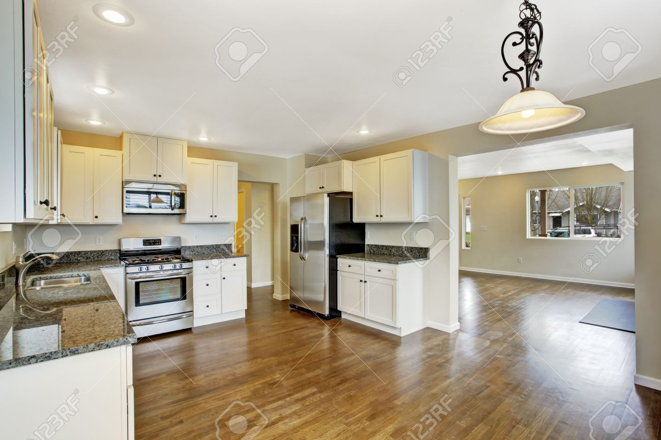 living room appliances. White kitchen room with steel appliances  View of empty living Open Floor Plan Kitchen Room With Steel Appliances