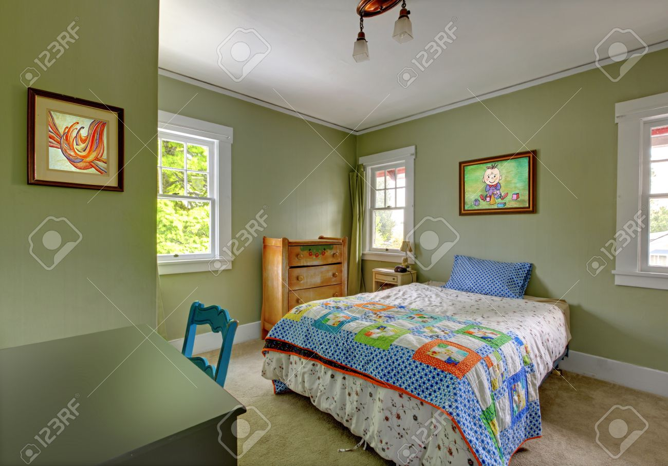 Kids Teenager Bedroom With Desk And Green Walls. Stock Photo ...