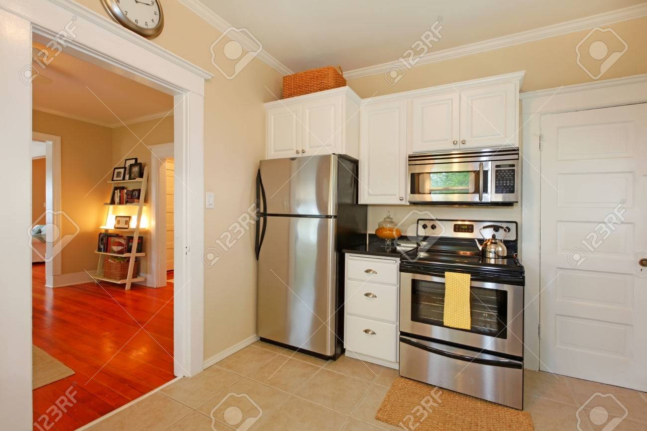 Beautiful kitchen interior with arch open wall to dining area stock photo 28688641
