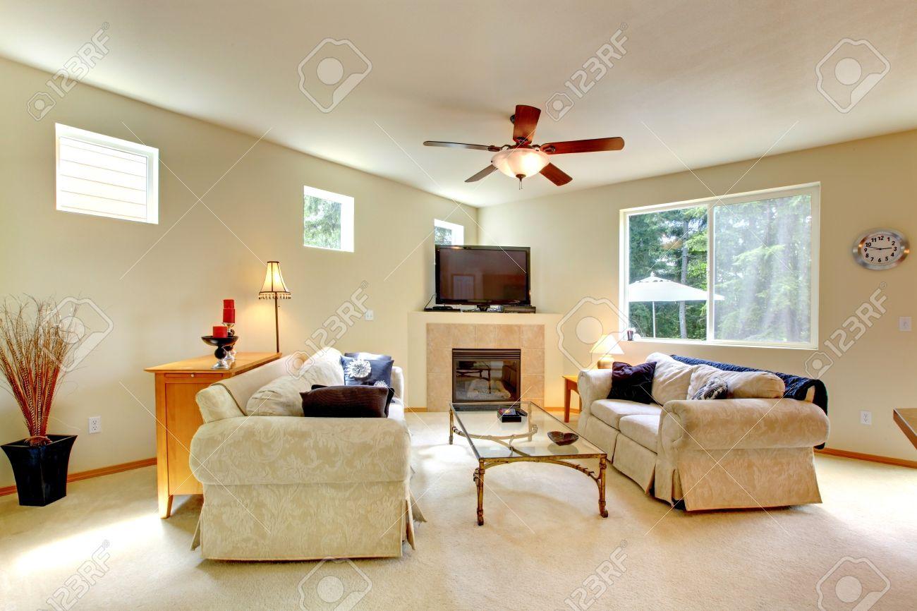 Elegante lichte tinten woonkamer met open haard en tv. kamer heeft ...