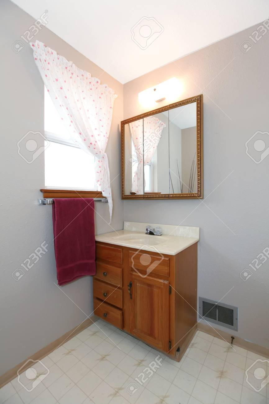 Simple Bathroom Corner With Bathroom Vanity Mirror Window Treated Stock Photo Picture And Royalty Free Image Image 29090673