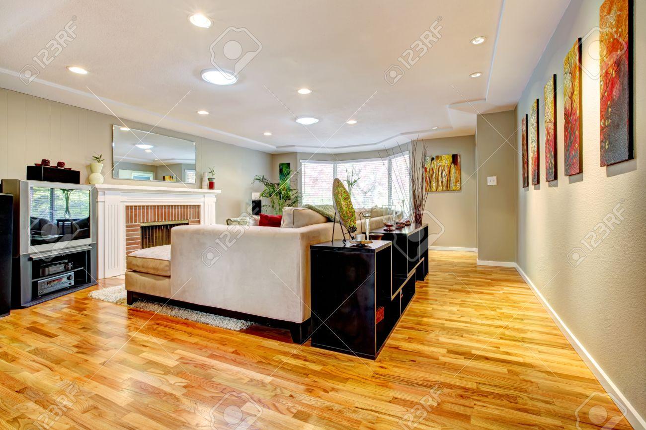 Élégant salon avec cheminée, canapé blanc et doux tapis blanc ...