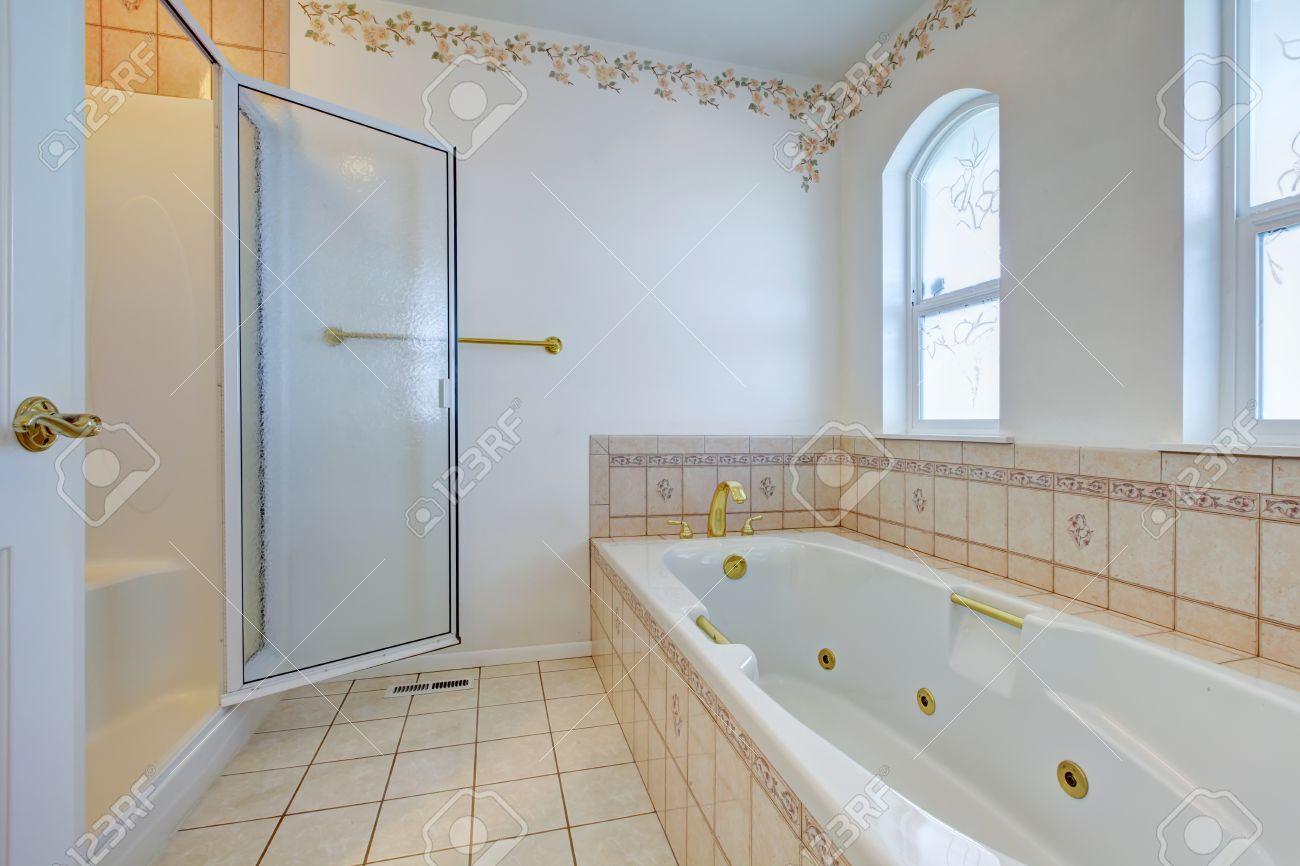White Refreshing Bathroom With White Whirlpool, Glass Door Shower ...