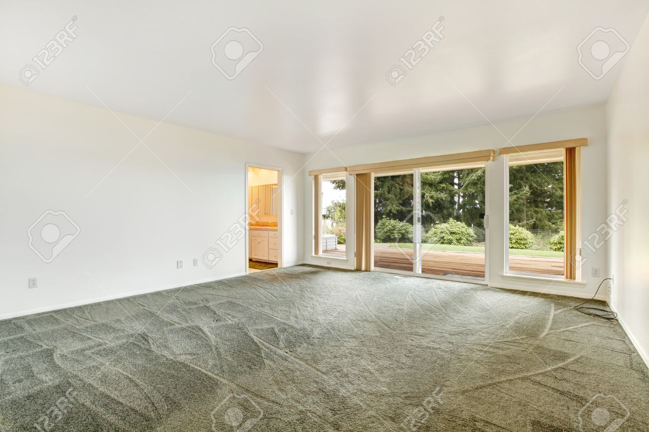 View Of Empty Master Bedroom With Olive Carpet Floor And Walkout