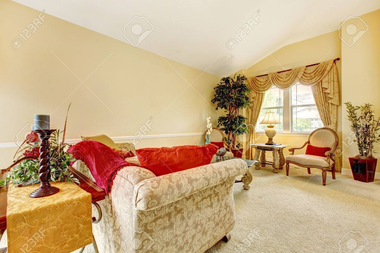 Ivory Living Room Furniture Ivory Living Room With High Vaulted Ceiling And Carpet Floor