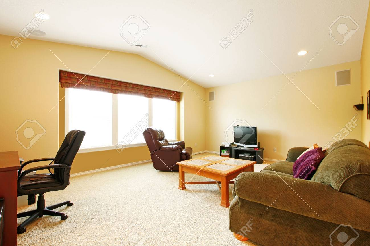 Living Room With Vaulted Ceiling And Ivory Walls. Furnished With ...