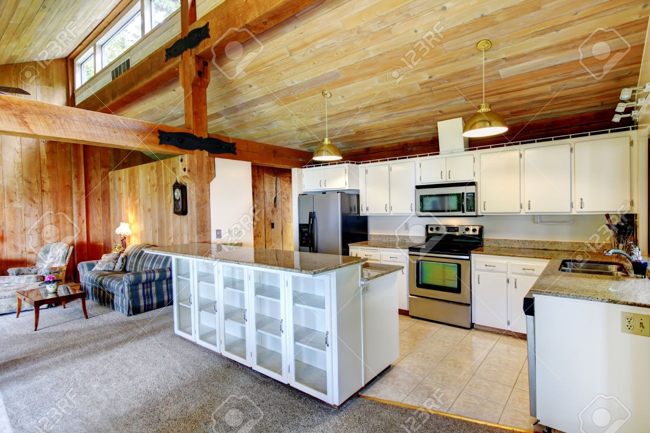 Log Cabin House Inteior View Of White Kitchen Room With Steel
