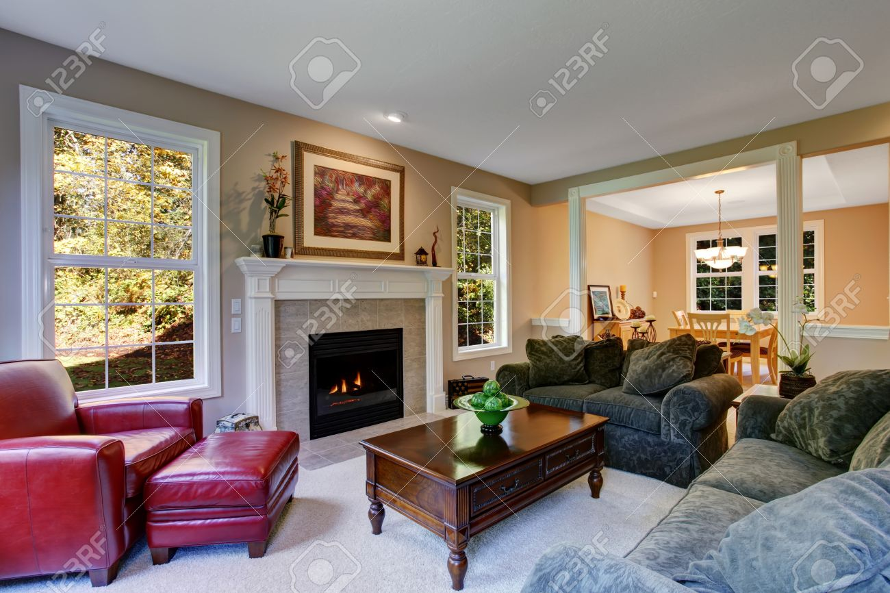 Cozy Living Room With Fireplace, Dark Green Sofas And Red Leather Armchair.  View Of