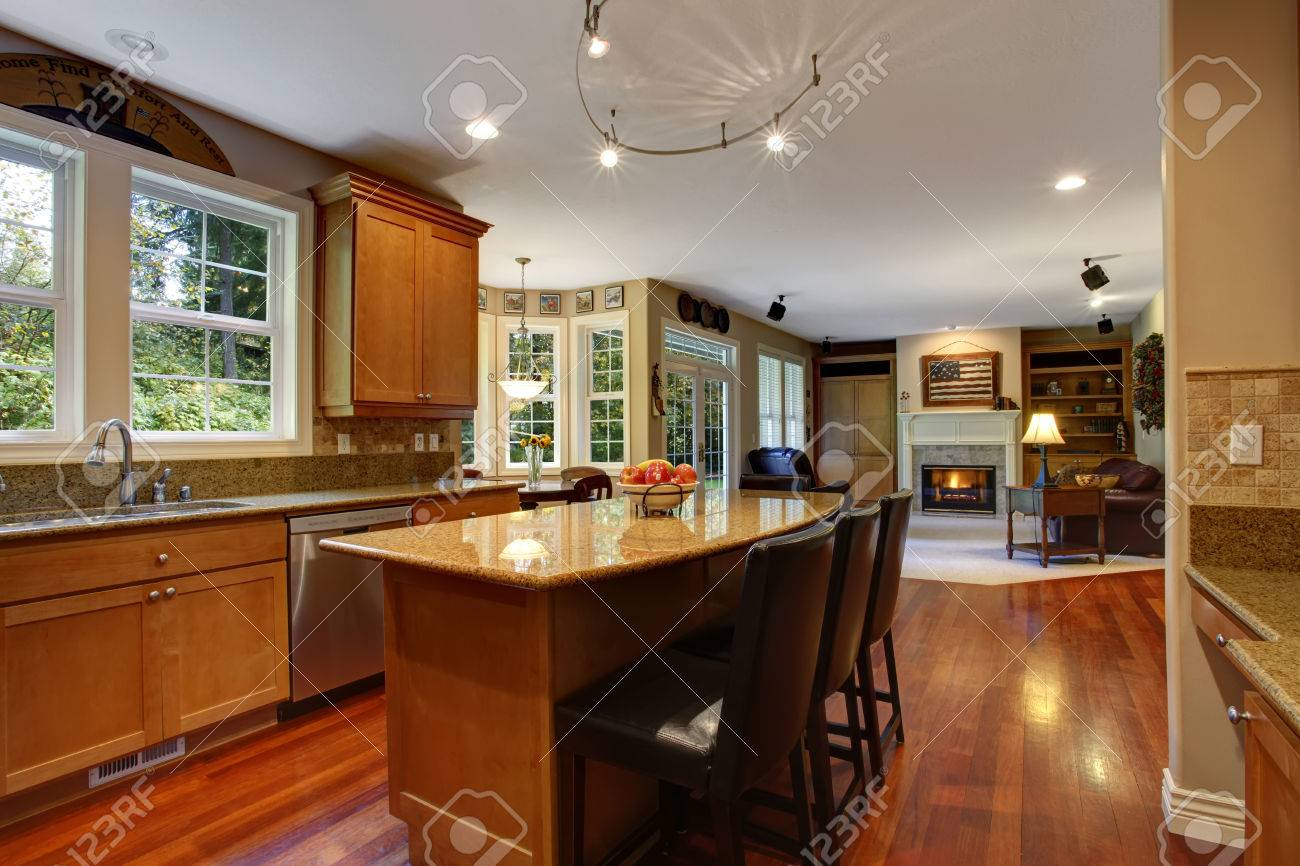 Open Floor Plan View Of Elegant Kitchen Area With Kitchen Island Stock Photo Picture And Royalty Free Image Image 29666993