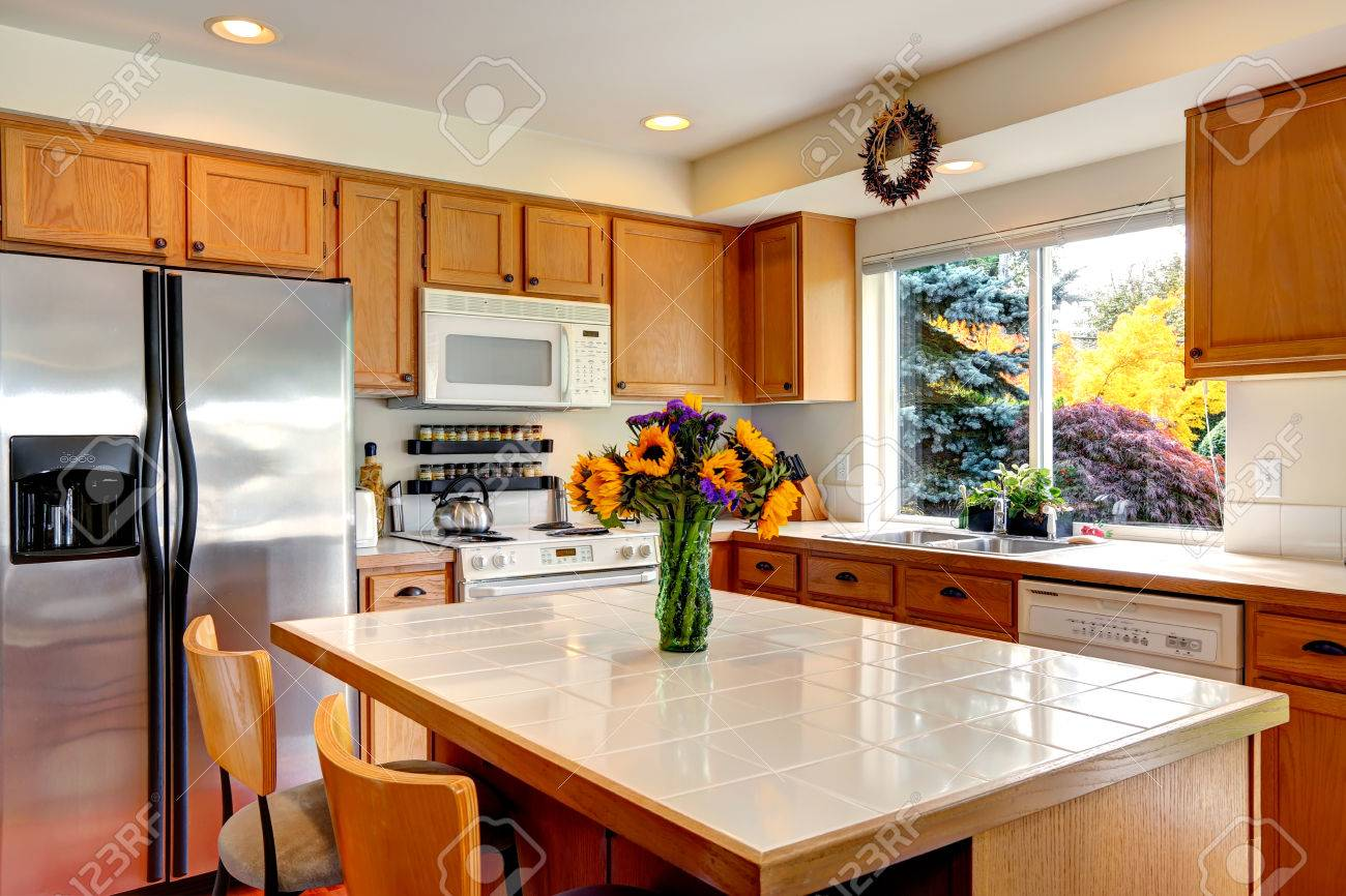 Cozy Kitchen Cozy Kitchen With Honey Color Cabinets White Appliances And
