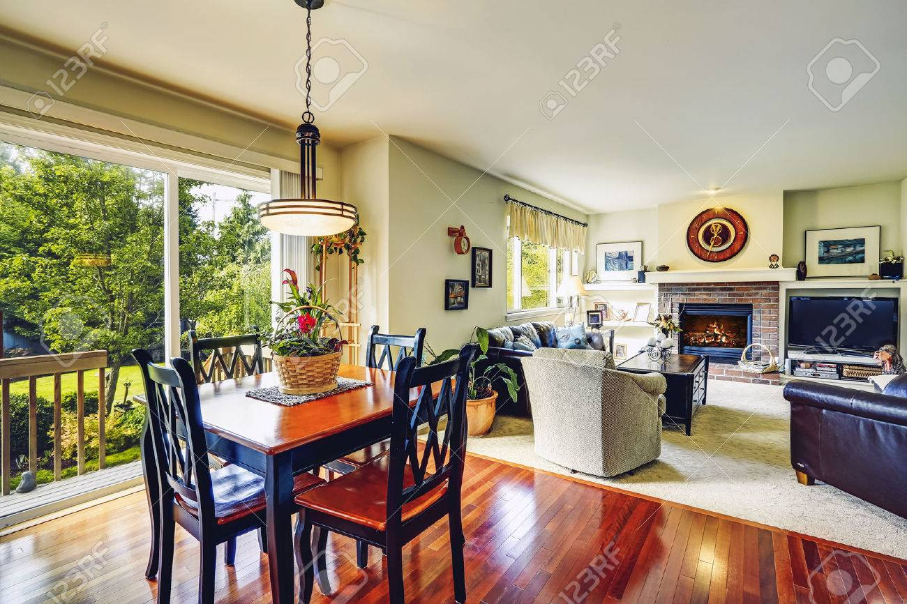 house interior open floor plan view of living room with dining