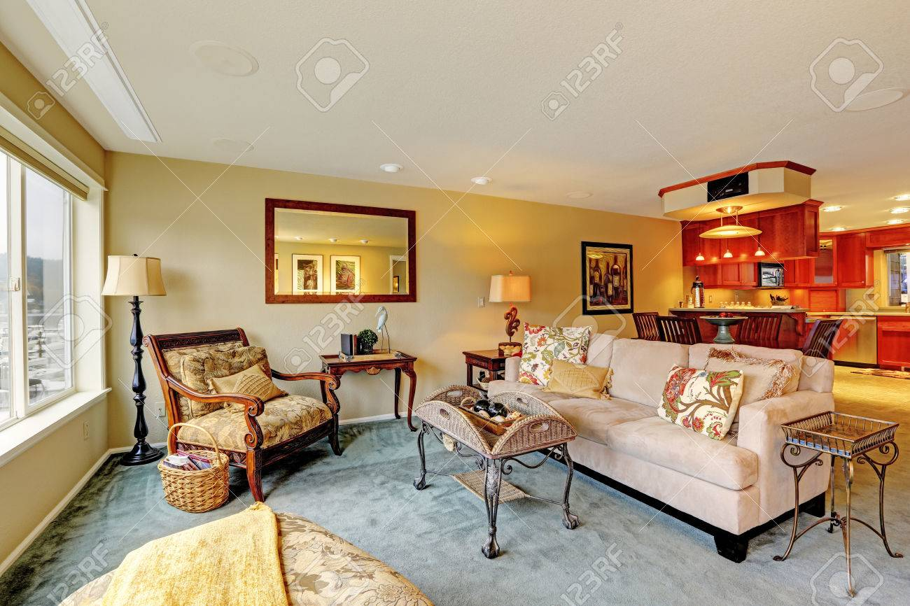 Living Room Antique Furniture House With Open Floor Plan View Of Living Room With Antique