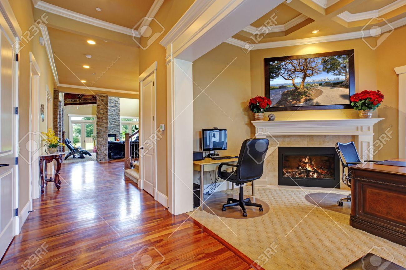 Luxury House Interior. Office Room With Fireplace And Hallway ...