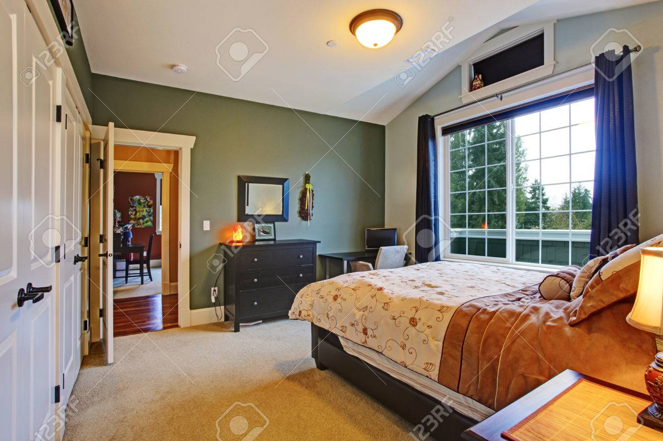 Haupt Schlafzimmer Interieur Mit Großen Französisch Fenster Und