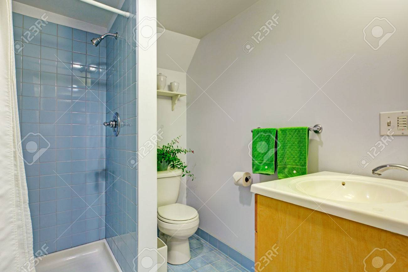 Light blue tiles bathroom - Bathroom Interior With Light Blue Tile Wall Trim And Blue Tile Floor View Of Old