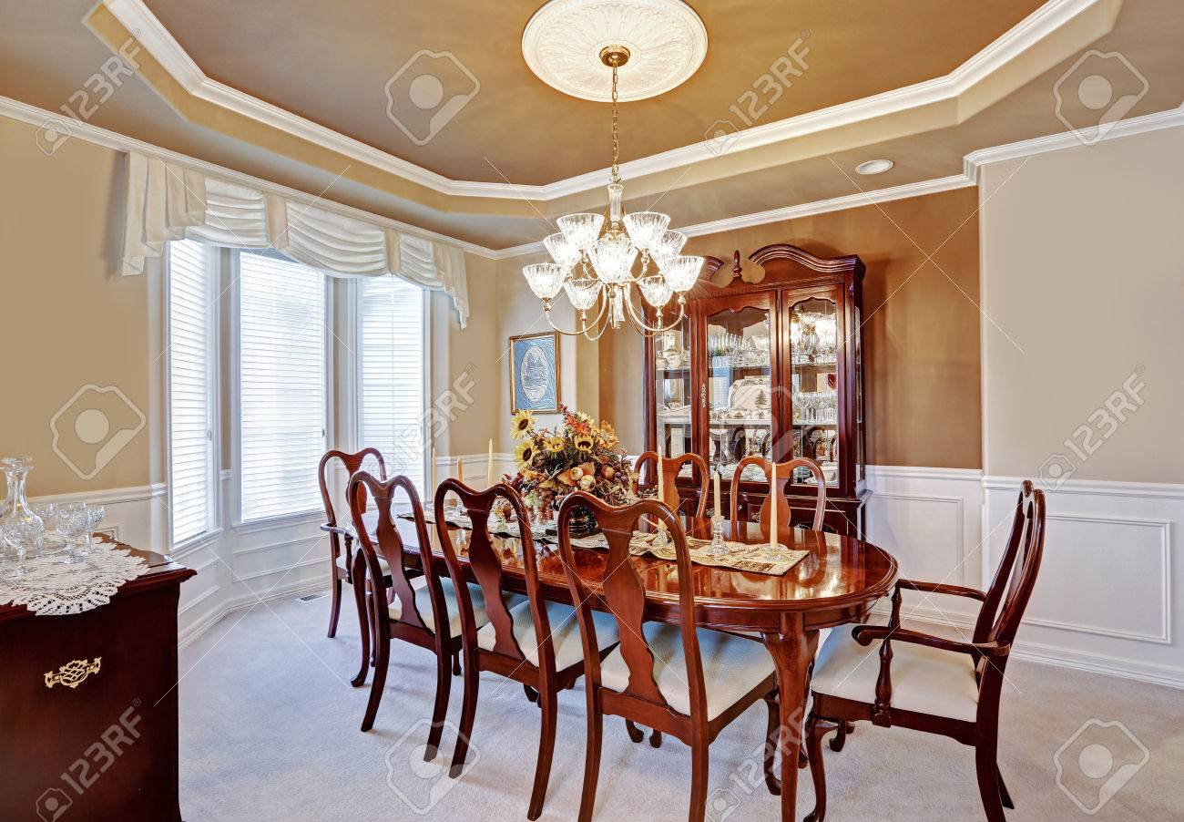 Beautiful Dining Room Interior In Luxury House. Wooden Dining ...