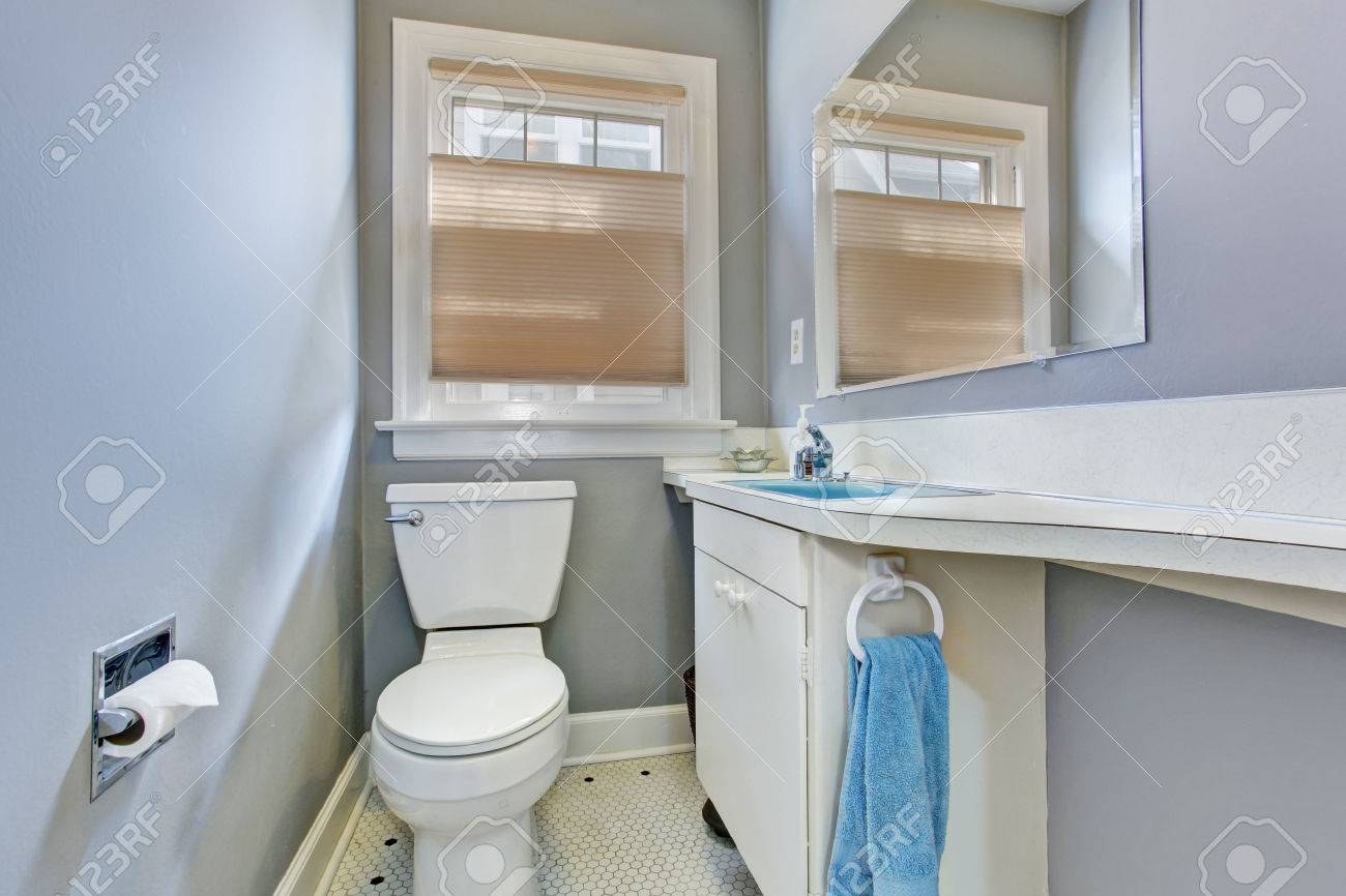 Small Light Blue Bathroom Inteiror In Old House View Of White Stock Photo Picture And Royalty Free Image Image 30051361