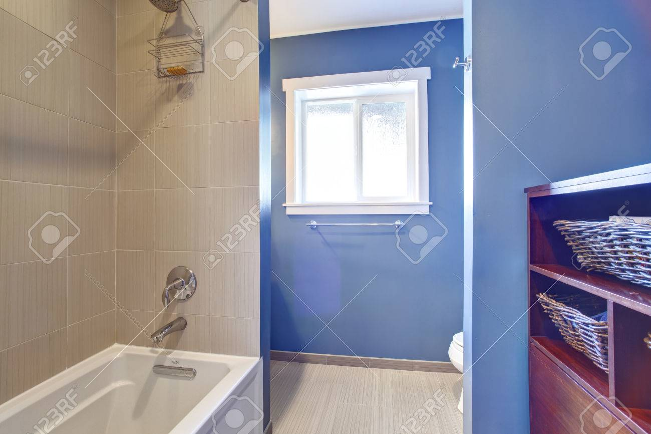 Light blue and white bathroom - Simple Yet Modern Bathroom Interior In Light Blue And Grey Color View Of White Bath