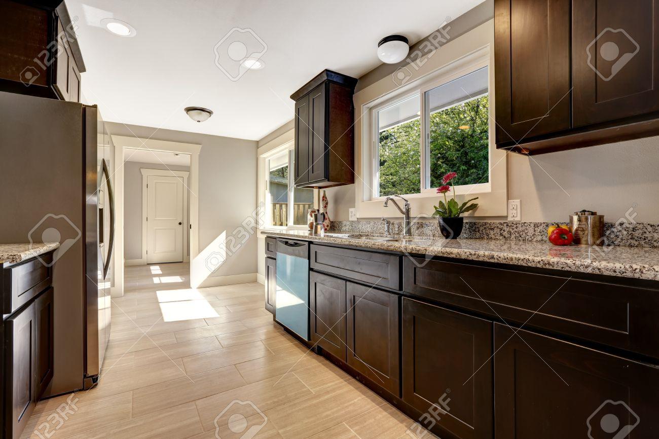 Moderne Küche Interieur Mit Dunklen Braun Lagerschränke Mit Granit ...