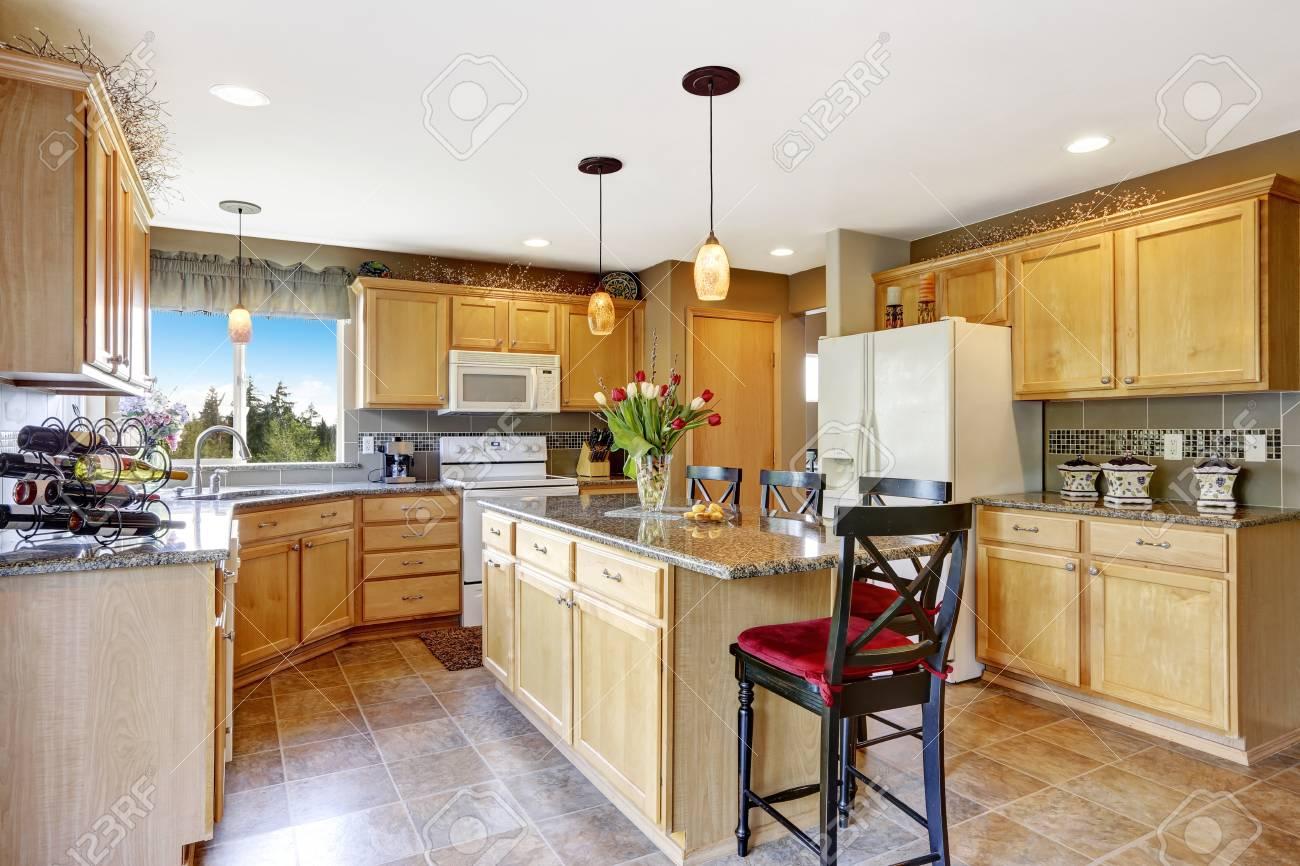 Helle Küche Innenraum Mit Kochinsel Und Weißen Geräten. Blick In Die ...