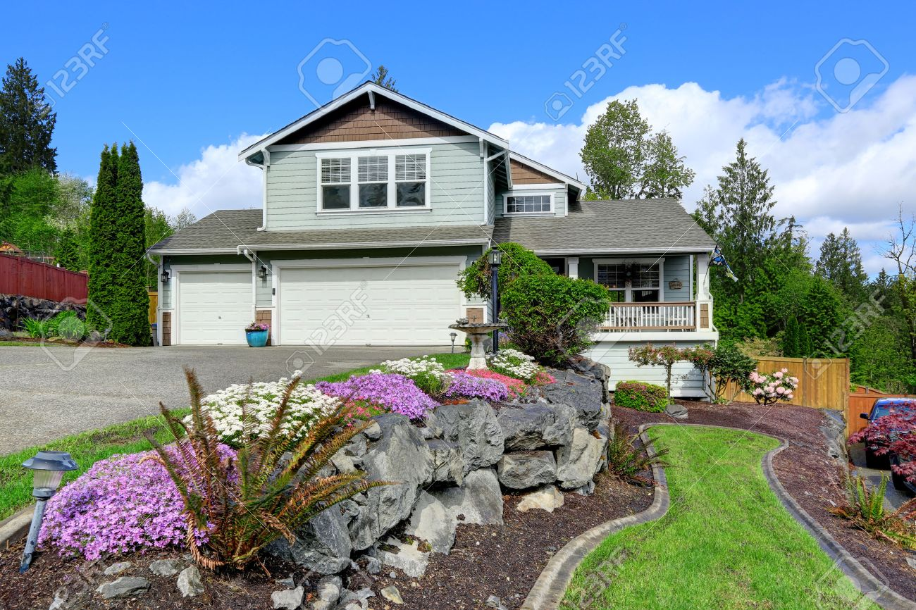 House Exterior With Curb Appeal View Of Entrance Porch Garage Stock Photo Picture And Royalty Free Image Image 30094774
