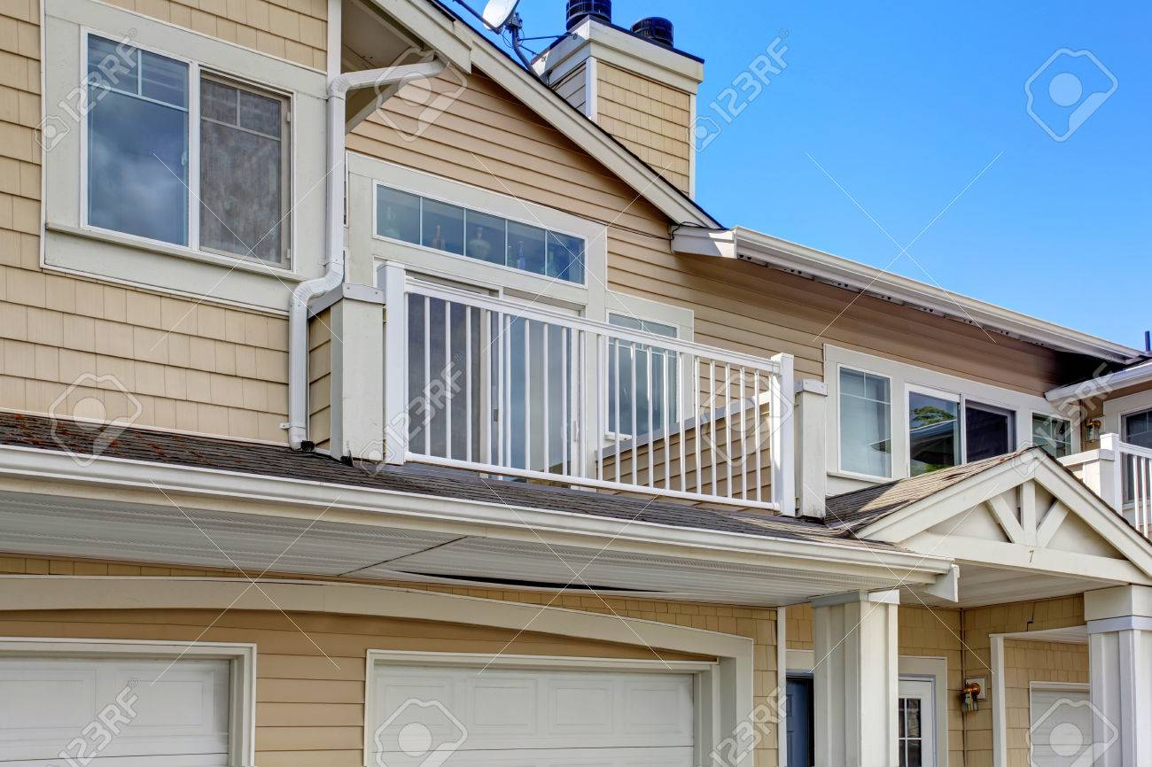 Exterior residential windows - Residential Building Exterior View Of Balcony With Windows Stock Photo 30094805