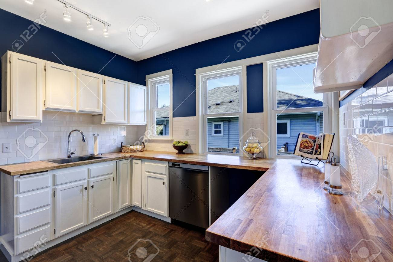 Kitchen Interior With White Cabinets And Bright Navy Walls Stock Photo Picture Royalty Free Image 30200758
