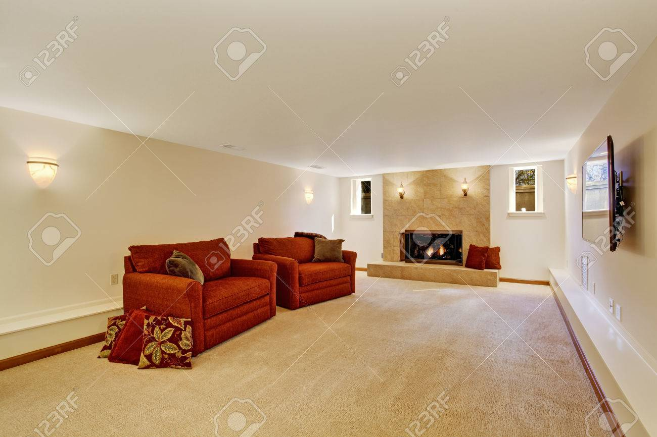 Ivory Living Rom With Granite Tile Background Fireplace And Red Stock Photo Picture And Royalty Free Image Image 30283157