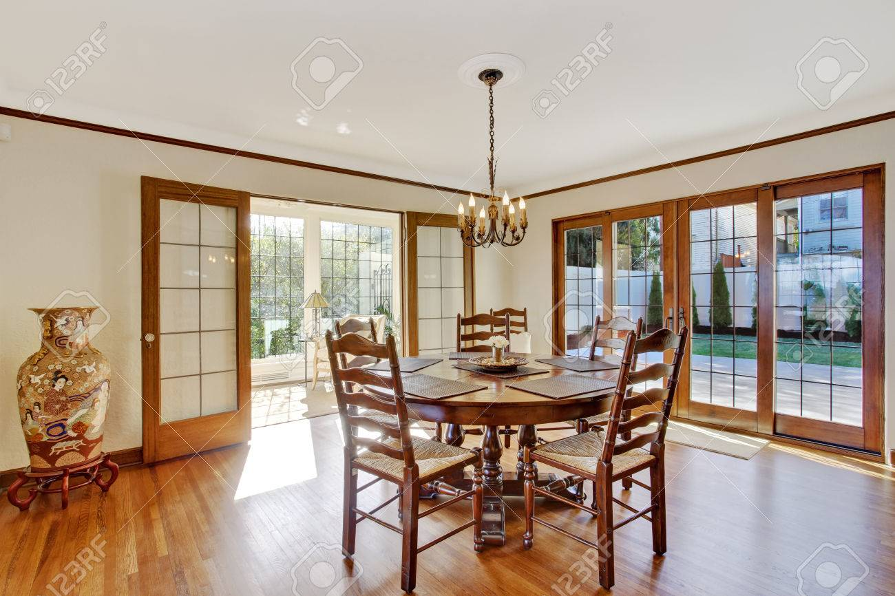 bright dining room in luxury house with french door to walkout bright dining room in luxury house with french door to walkout deck corner decorated with