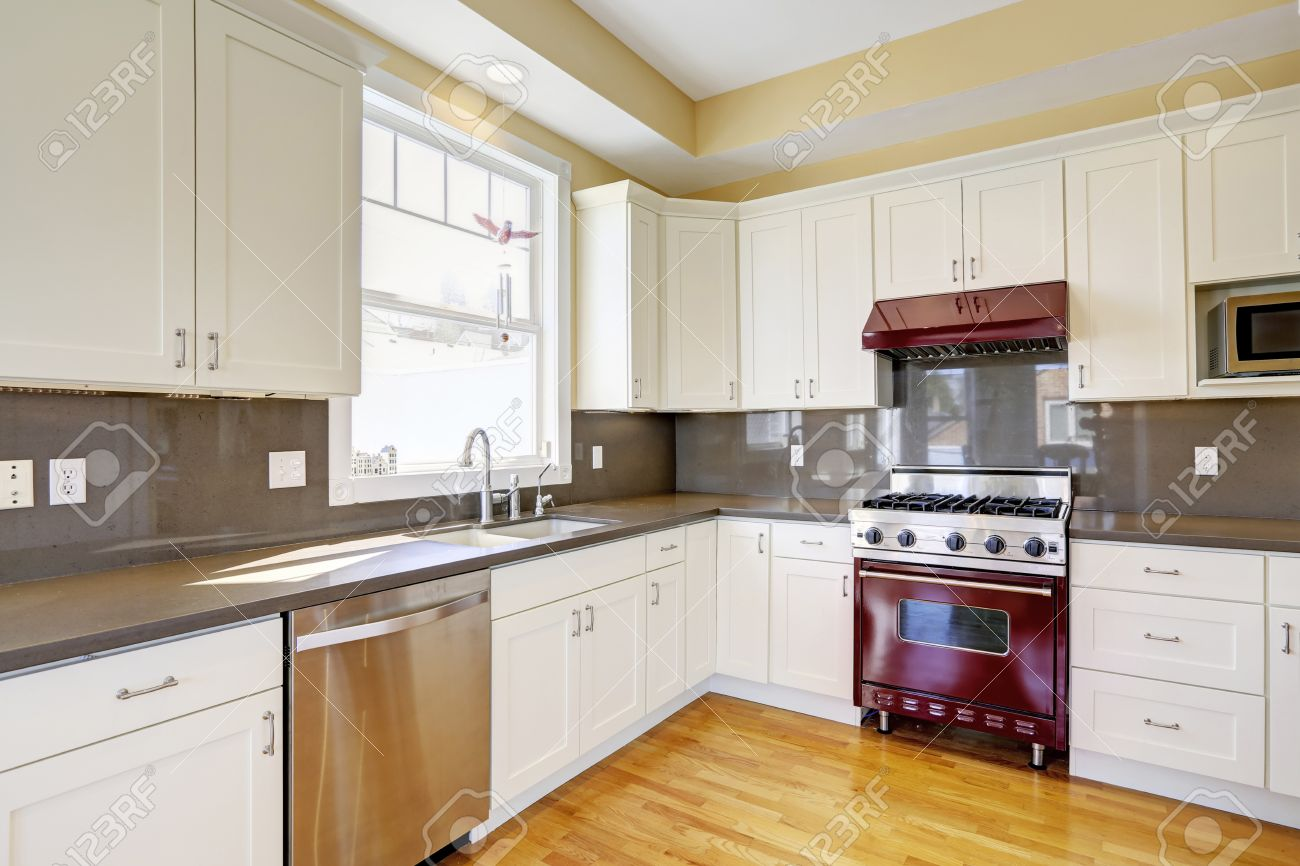 Kitchen With Hardwood Floor Bright Kitchen Room With Hardwood Floor White Cabinets Burgundy