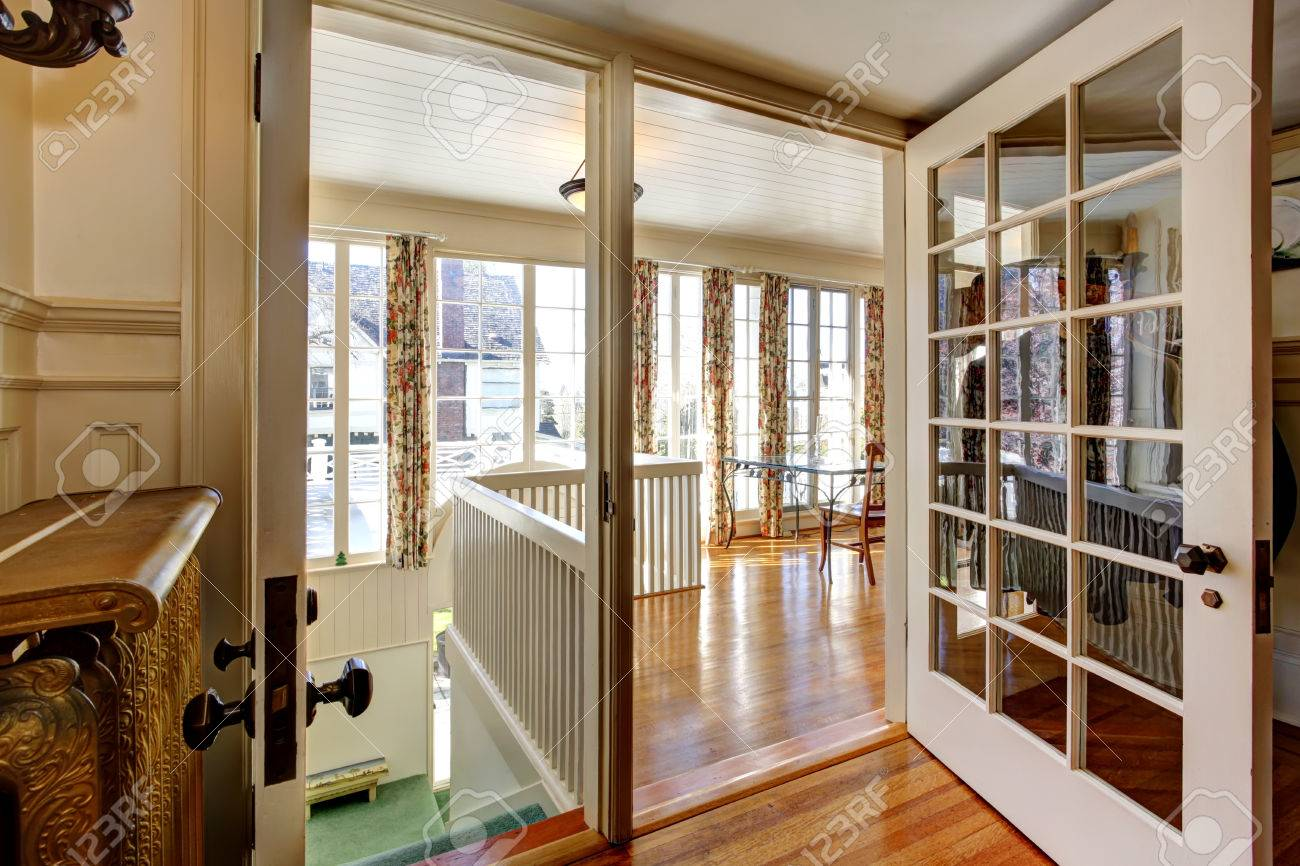 View Of Open French Door To Dining Room Stock Photo   30322326