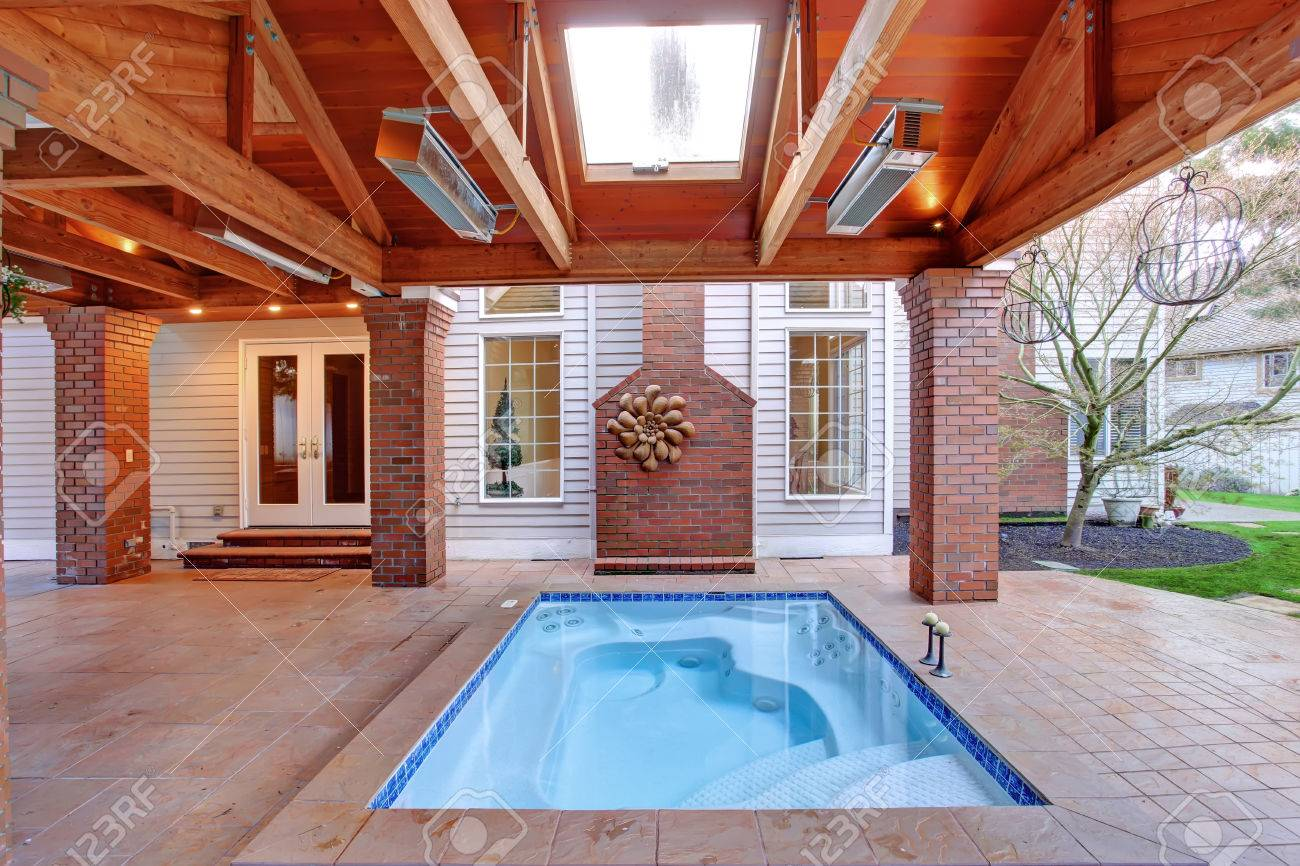 Large Walkout Deck With Brick Columns And Jacuzzi. Stock Photo ...