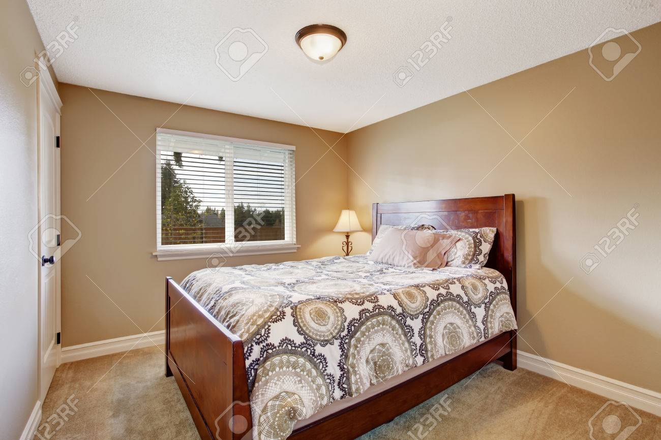 Light Beige Bedroom With Soft Carpet Floor And Wooden Bed Stock Photo 30508356