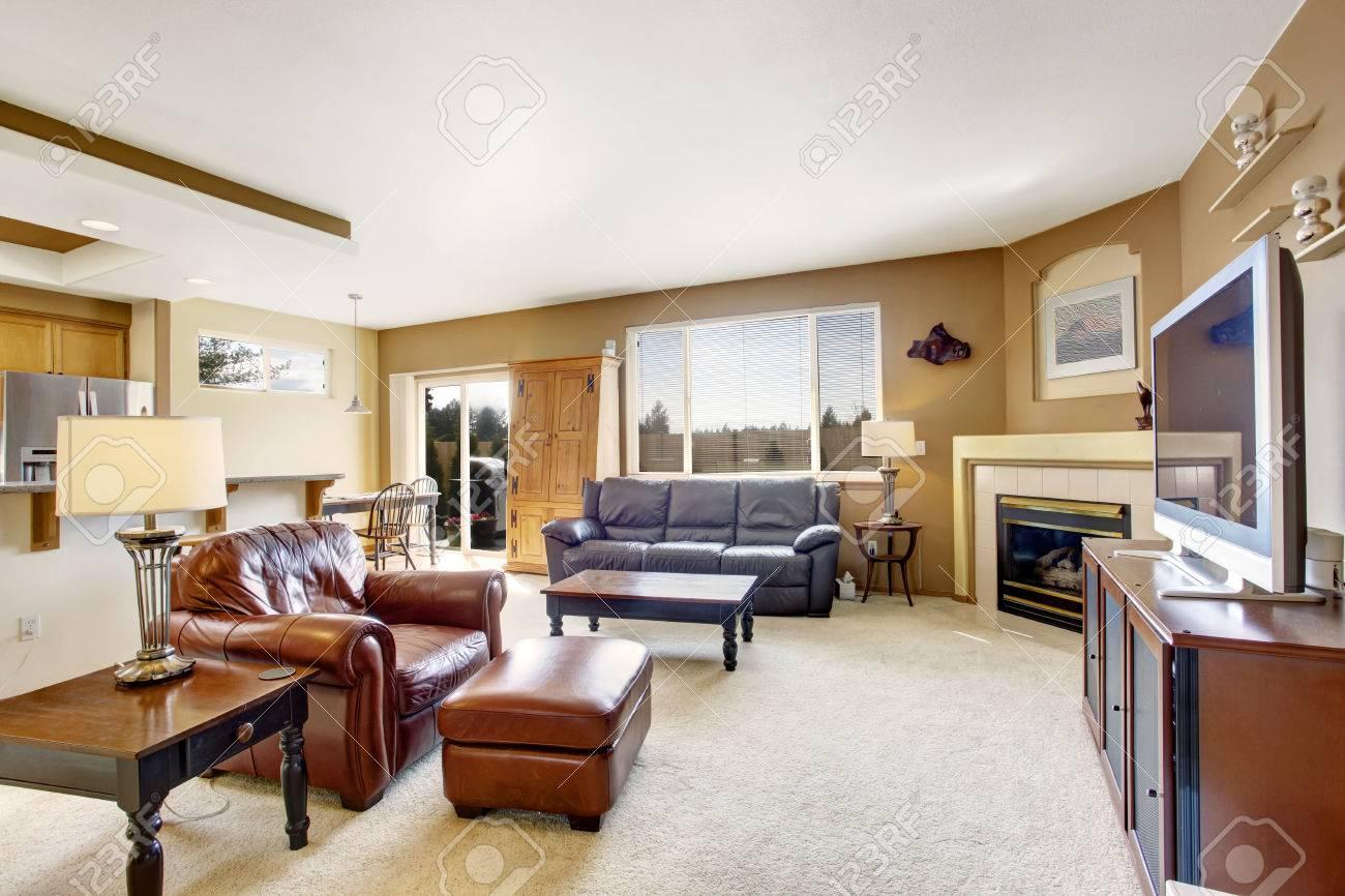 luminoso soggiorno con camino, tv e divano in pelle con poltrona ... - Soggiorno Luminoso